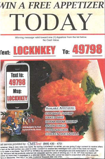 Lock 'N Key Appetizer Coupon
