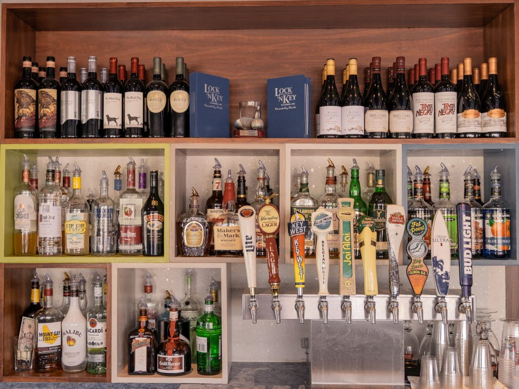 liquor and beer taps at the bar