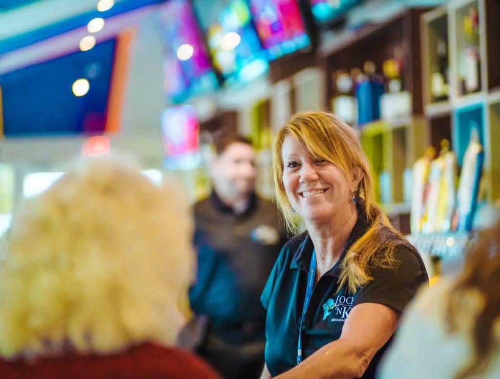 happy female bartender